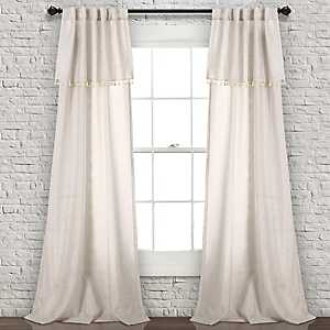 Neutral Tassel Curtain Panel Set, 84 in.