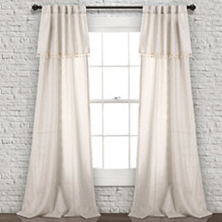 Neutral Tassel Curtain Panel Set, 84 in.