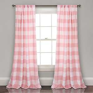 Pink Checker Curtain Panel Set, 84 in.