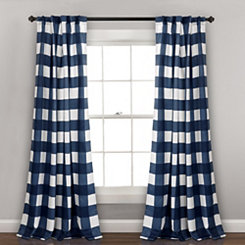 Navy Checker Curtain Panel Set, 84 in.