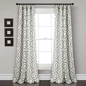 Gray Octagon Curtain Panel Set, 84 in.