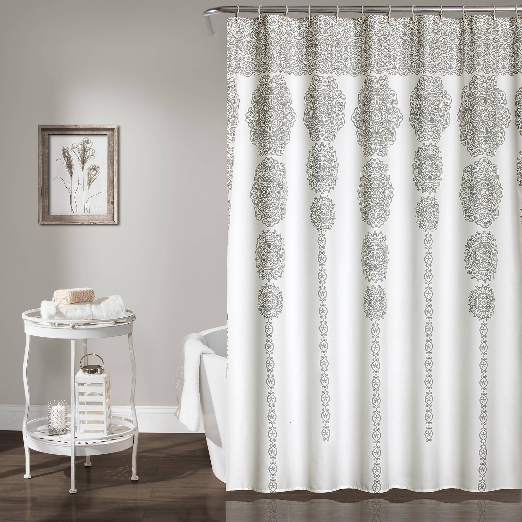 Gray Cascading Medallion Shower Curtain