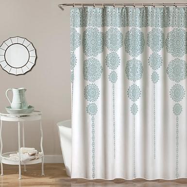 silver and gold shower curtain. Blue Cascading Medallion Shower Curtain Bathroom Accessories  Toilet Paper Holder Kirklands