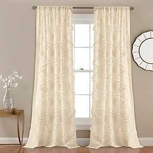 Ivory Ruffle Diamond Curtain Panel Set, 84 in.