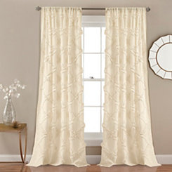 Ivory Ruffle Diamond Curtain Panel Set, 84 in.