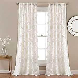 White Ruffle Diamond Curtain Panel Set, 84 in.