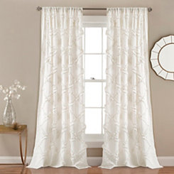 White Ruffle Diamond Curtain Panel Set, 84 in.