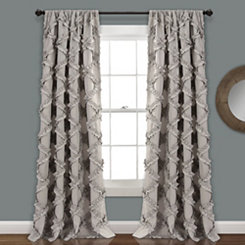 Gray Ruffle Diamond Curtain Panel Set, 84 in.
