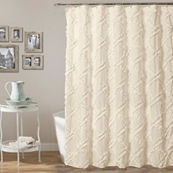 Ivory Ruffle Diamond Shower Curtain