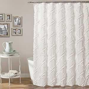 White Ruffle Diamond Shower Curtain