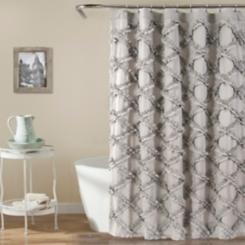 Gray Ruffle Diamond Shower Curtain