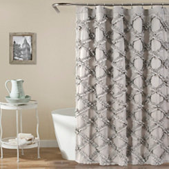Gray Ruffle Diamond Shower Curtain