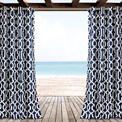 Navy Eddie Curtain Panel Set, 84 in.