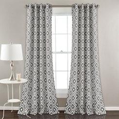 Gray Diamond Curtain Panel Set, 84 in.