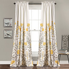 Aprile Floral Curtain Panel Set, 84 in.