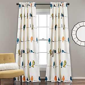 Blue and Orange Birds Curtain Panel Set, 84 in.