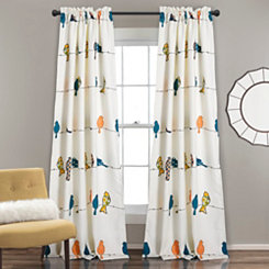 Blue and Orange Birds Curtain Panel Set, 84 in.