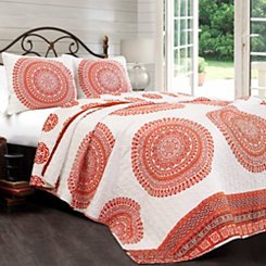 Orange Shaina Medallion 3-pc. Full/Queen Quilt Set