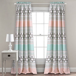 Elephant Stripe Curtain Panel Set, 84 in.
