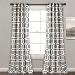 Gray Geometric Curtain Panel Set, 84 in.