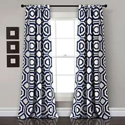Navy Octagon Curtain Panel Set, 84 in.