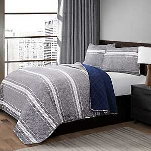 Gray Marly Stripe 3-pc. Full/Queen Quilt Set