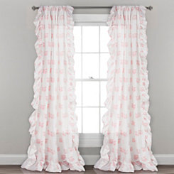 Pink Fox Ruffle Curtain Panel Set, 84 in.