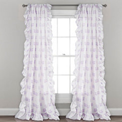 Purple Fox Ruffle Curtain Panel Set, 84 in.