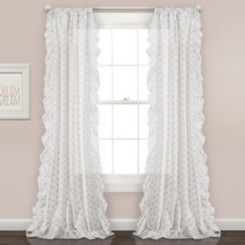 Gray Dot Ruffle Curtain Panel Set, 84 in.