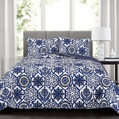 Navy Mandy 3-pc. King Quilt Set