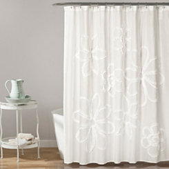 White Ruffle Flower Shower Curtain