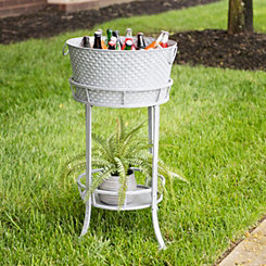 Hammered Metal Beverage Tub Stand