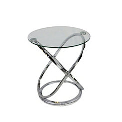 Silver Metal and Clear Glass Round Accent Table