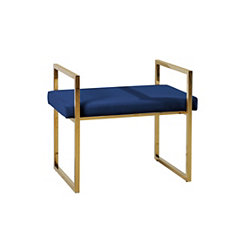 Gold and Navy Vanity Bench