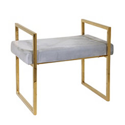 Gold and Gray Vanity Bench