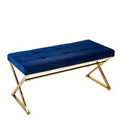 Tufted Navy Velveteen and Gold Metal Bench