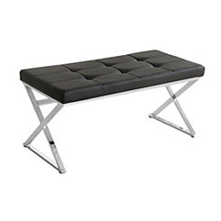 Black Faux Leather and Silver Metal Bench