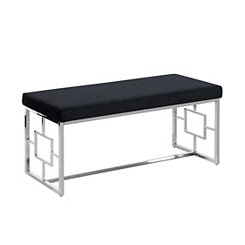 Black Velveteen and Silver Metal Bench