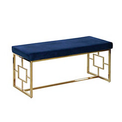 Navy Velveteen and Gold Metal Bench