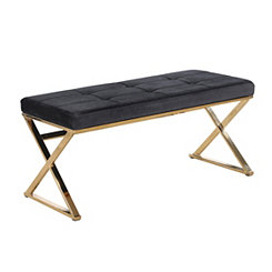 Tufted Black Velveteen and Gold Metal Bench