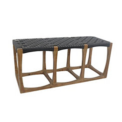 Brown Woven Seat Wooden Bench