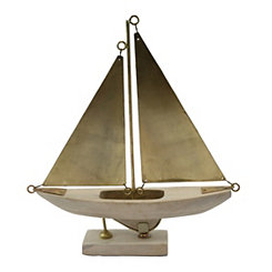 Whitewash Wooden Sail Boat on Stand