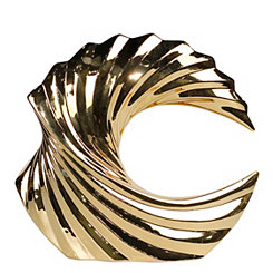 Decorative Ceramic Gold Wave Sculpture