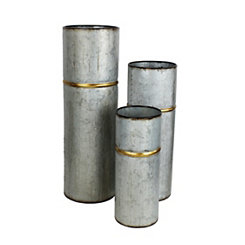 Gold Banded Metal Vases, Set of 3