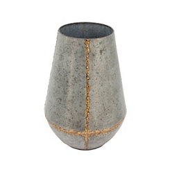 Distressed Decorative Metal Vase, 16 in.