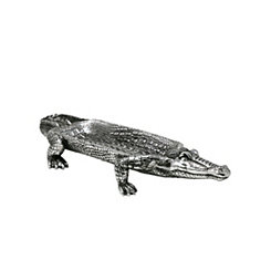 Silver Polyresin Alligator Figurine Tray