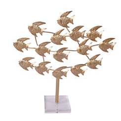 Gold Metal School of Fish Sculpture on Stand