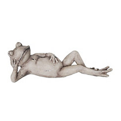 Decorative Antique White Resin Lying Frog Statue