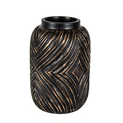 Decorative Brown and Gold Resin Vase