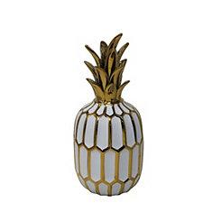 Decorative Ceramic White and Gold Pineapple Statue